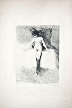 The Little Model - Original Drypoint by Lino Selvatico - 1910