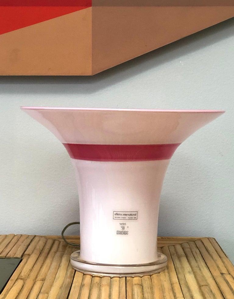 Lino Tagliapietra Signed Rare Pair of Murano Glass Table Lamps, 1982 In Good Condition For Sale In Miami, FL