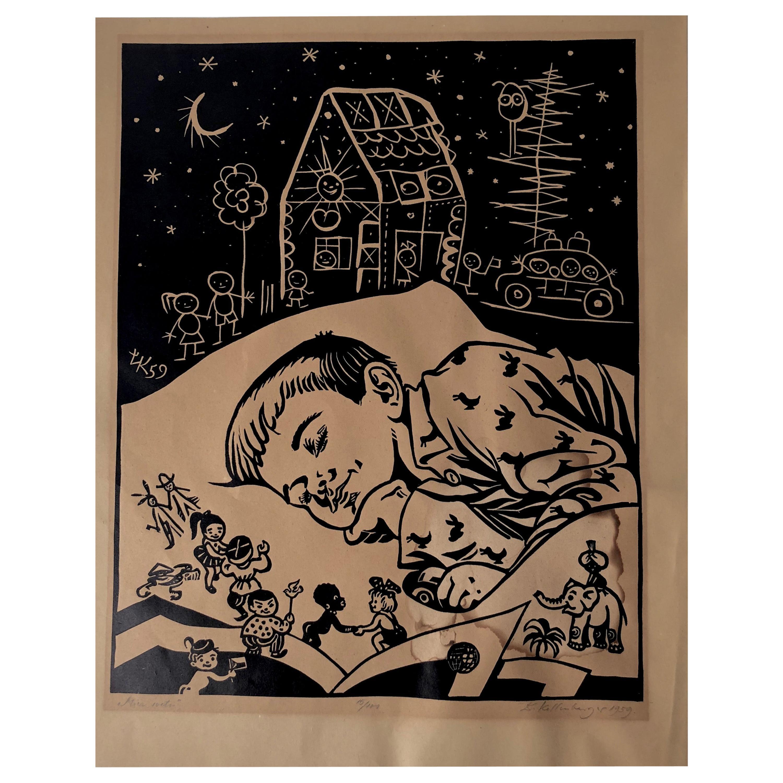 Linocut from Lubomir Kellenberger, 1959 Slovakia