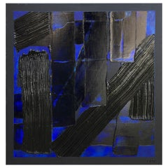 Painting L'Intrus 11 by Liora Textured Square Abstract Canvas Blue Contemporary
