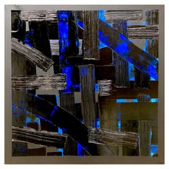 Painting L'intrus 9 by Liora Textured Large Square Abstract Canvas Contemporary