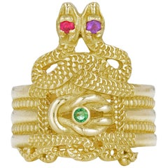 Linus Ring, 18 Karat Yellow Gold with Ruby, Emerald, Amethyst