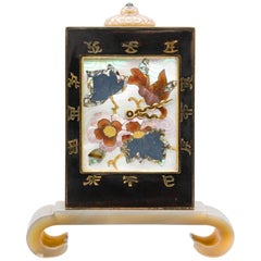 Linzeler Marchak Art Deco Inlaid Gold and Agate Clock
