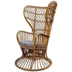 Lio Carminati Gio Ponti Bamboo Armchair Ornamental Midcentury Italian Design