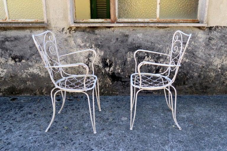 Mid-Century Modern Lio Carminati Set of Eight Lacquered Iron Garden Chairs Casa & Giardino, 1930s