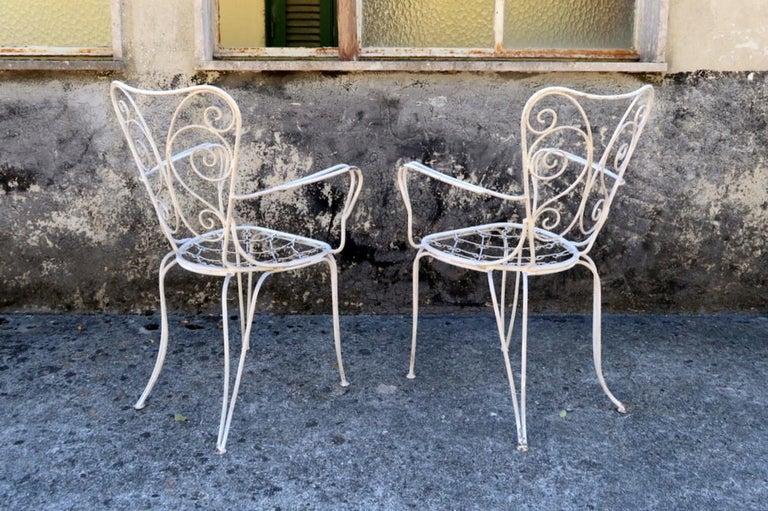 Italian Lio Carminati Set of Eight Lacquered Iron Garden Chairs Casa & Giardino, 1930s