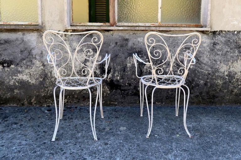 Lio Carminati Set of Eight Lacquered Iron Garden Chairs Casa & Giardino, 1930s In Good Condition In Montecatini Terme, IT