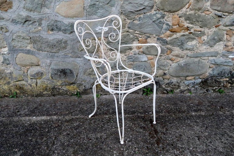 Mid-20th Century Lio Carminati Set of Eight Lacquered Iron Garden Chairs Casa & Giardino, 1930s