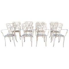Lio Carminati Set of Eight Lacquered Iron Garden Chairs Casa & Giardino, 1930s