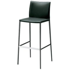 Lio High Stool in Black Leather by Roberto Barbieri