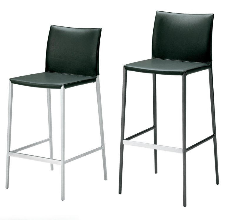 Lio is a stool by Roberto Barbieri. Leather external cover. Structure in polished alluminum. Footrest in brushed stainless steel. Lio is a stool ideal for the bar, or a perfect choice for a at home space.