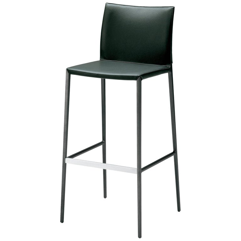 Lio High Stool in White Leather by Roberto Barbieri For Sale