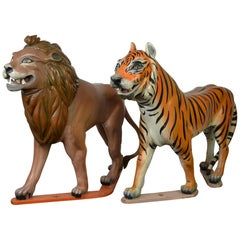Lion and Tiger Sculptures from Carousel, Wood, Europe, Mid-20th Century