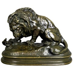 """Lion au Serpent N°1"", Antoine Louis Barye '1796-1875' French School"