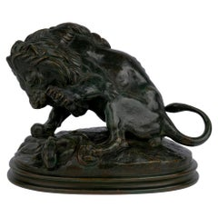 """""""Lion au Serpent No. 3"""" French Bronze Sculpture by Barye & Delafontaine"""