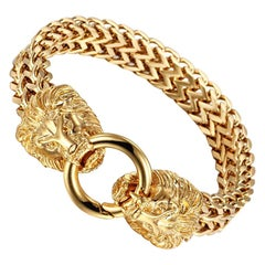 Lion Bangle Bracelet 18 Karat Yellow Gold
