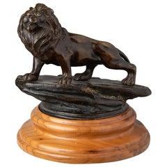 Lion Bronze Sculpture on Wood Base