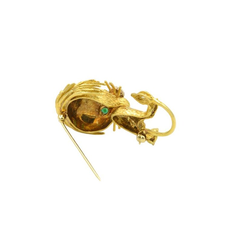 Women's or Men's Lion Brooch 18 Karat, 1960s For Sale
