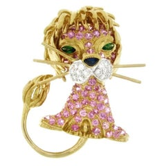 Lion Brooch or Pin with Pink Sapphires and Diamonds in 18 Karat Yellow Gold