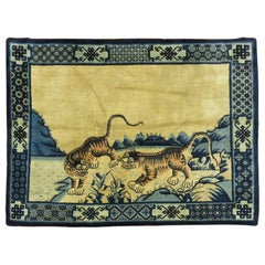 Lion Cubs Vintage Chinese Pictorial Rug
