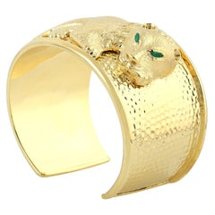 Lion Emerald Statement Cuff