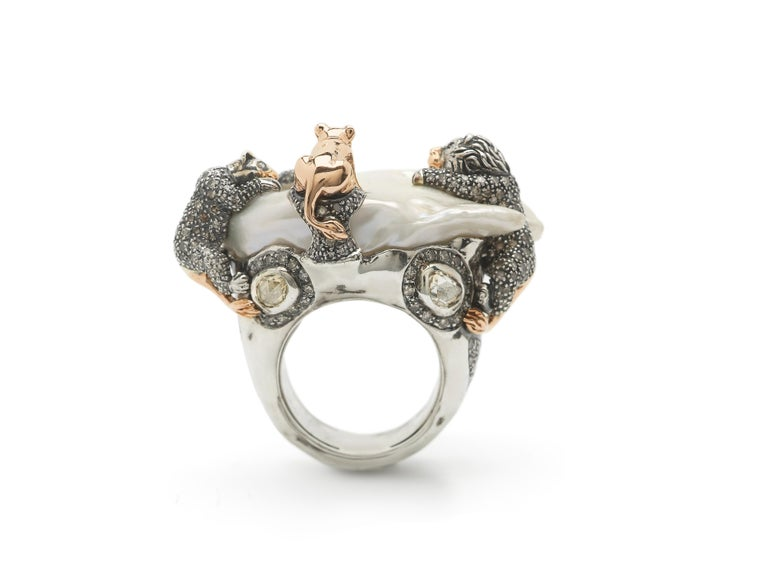 Mixed Cut 18 Karat Rose Gold Brown and White Diamond Lion Family Statement Ring For Sale