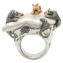 18 Karat Rose Gold Brown and White Diamond Lion Family Statement Ring