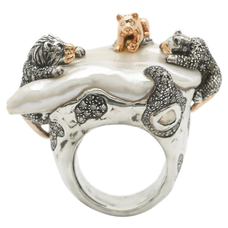 18 Karat Rose Gold Brown and White Diamond Lion Family Statement Ring For Sale