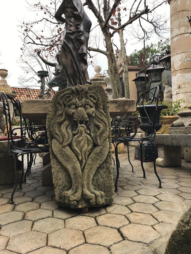 Lion Hand Carved Stone Fountain Head Wall Mount Sculpture Spout Water Feature LA For Sale 4
