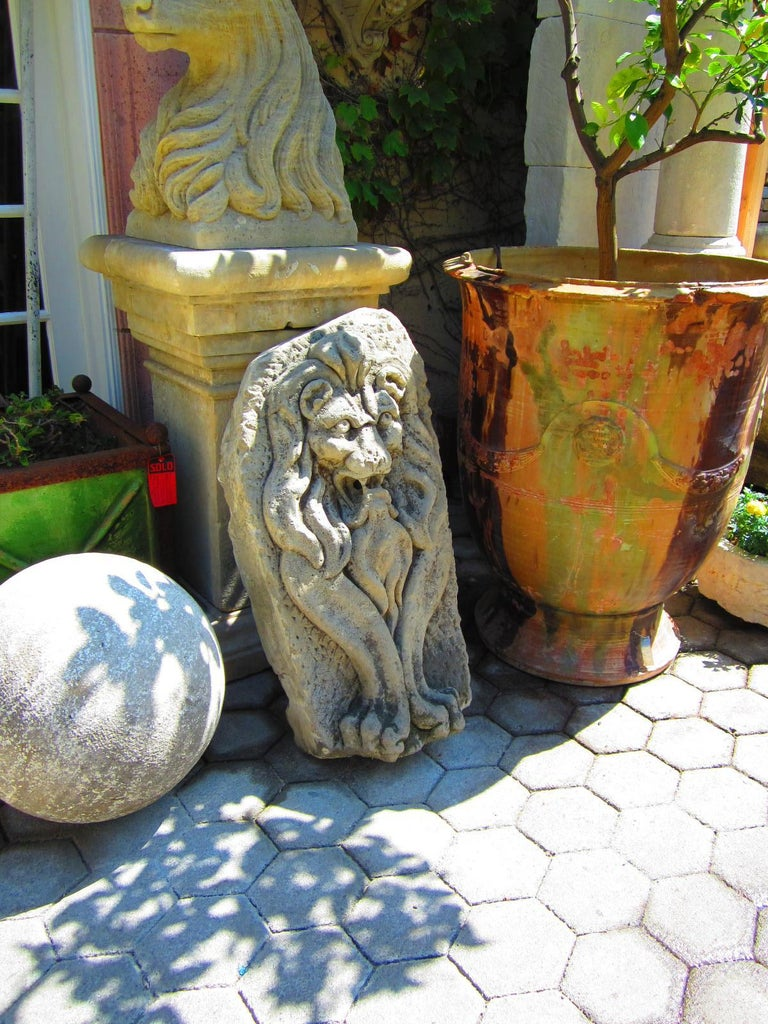 Hand-Carved Lion Hand Carved Stone Fountain Head Wall Mount Sculpture Spout Water Feature LA For Sale