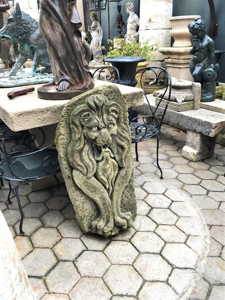 Lion Hand Carved Stone Fountain Head Wall Mount Sculpture Spout Water Feature LA In Good Condition For Sale In West Hollywood, CA