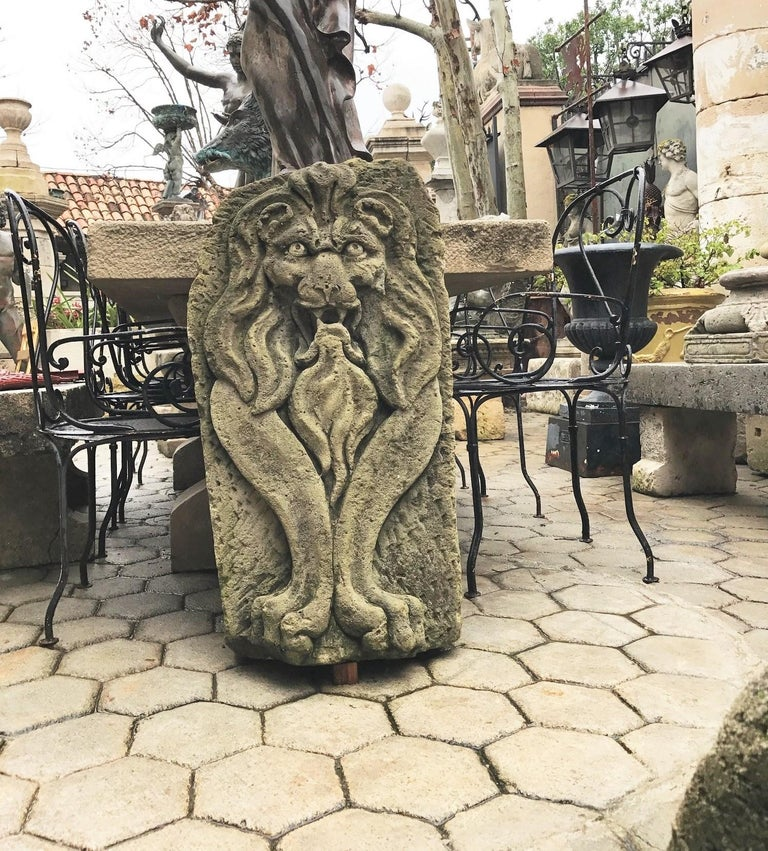 Lion Hand Carved Stone Fountain Head Wall Mount Sculpture Spout Water Feature LA For Sale 2