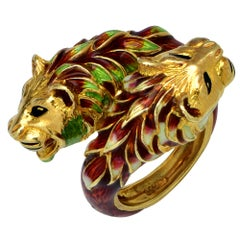Lion Head Enamel Bypass Ring, circa 1960s