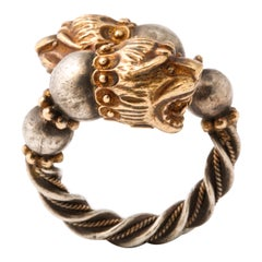 Lion Head, Gold and Silver Ring