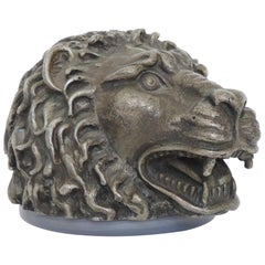 Lion Head Table Lighter in Silvered Metal, Italy, 1960s