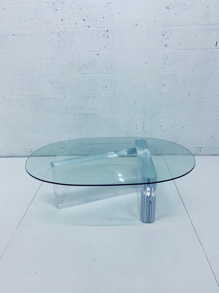 Lion in Frost Lucite and Oval Glass Top Coffee or Cocktail Table, 1970s For Sale 6