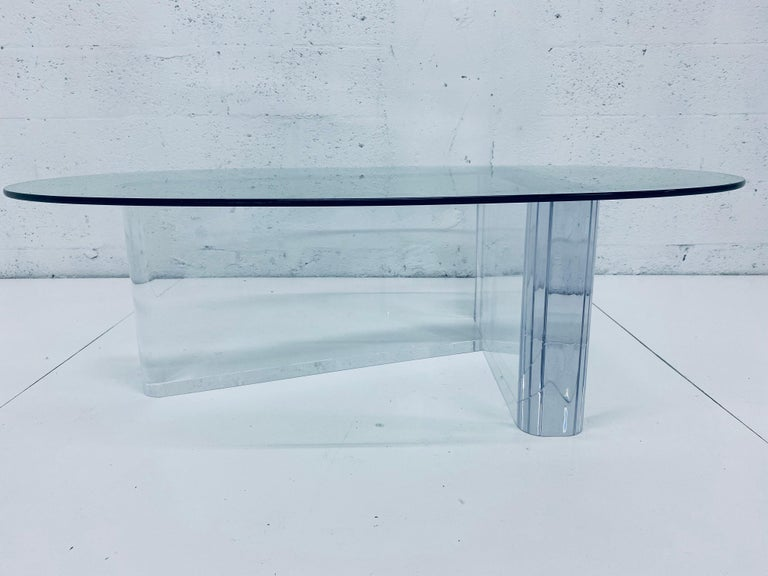 Mid-Century Modern Lion in Frost Lucite and Oval Glass Top Coffee or Cocktail Table, 1970s For Sale