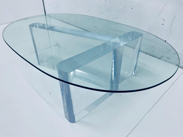 American Lion in Frost Lucite and Oval Glass Top Coffee or Cocktail Table, 1970s For Sale