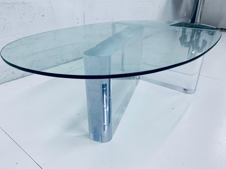 Late 20th Century Lion in Frost Lucite and Oval Glass Top Coffee or Cocktail Table, 1970s For Sale