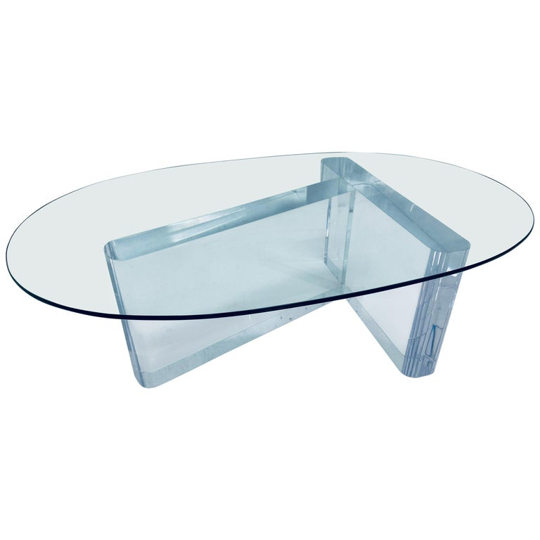 Lion in Frost Lucite and Oval Glass Top Coffee or Cocktail Table, 1970s For Sale