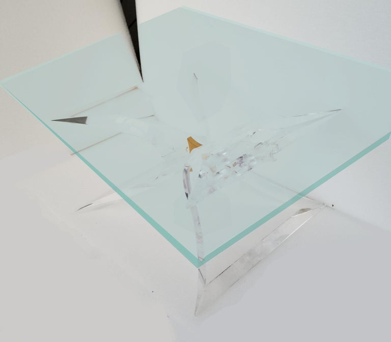 Superb Mid-Century Modern Lucite butterfly side table signed Lion in Frost at the base. Pair available, perfect for a pair of side or sofa tables.
