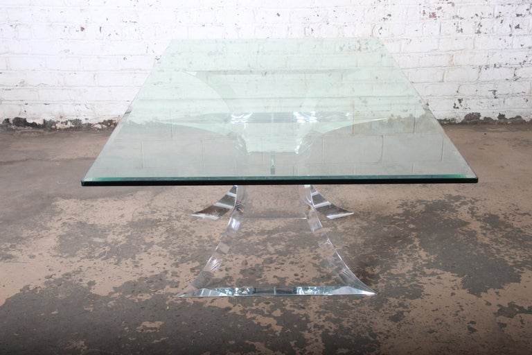 Lion in Frost Mid-Century Modern Sculpted Lucite and Glass Dining Table 4
