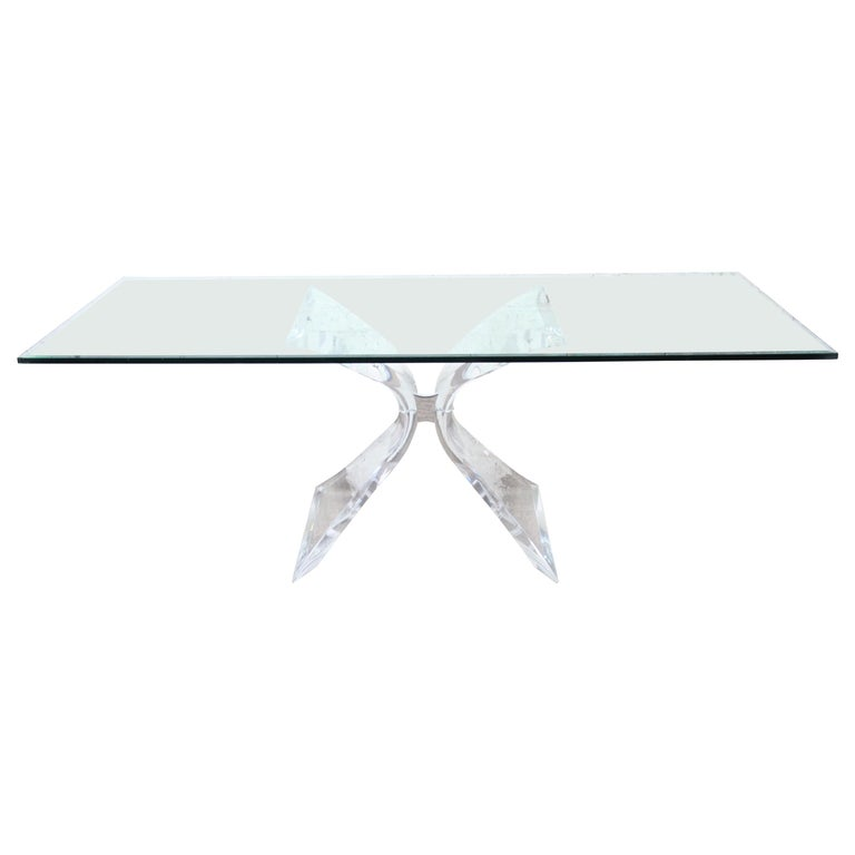 Lion in Frost Mid-Century Modern Sculpted Lucite and Glass Dining Table