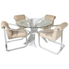 Lion in Frost Signed Lucite Dining Table and Leather Chairs