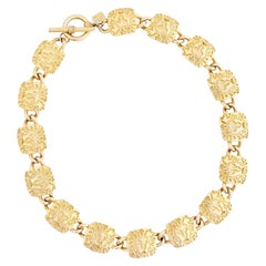 Lion Logo Link Choker Necklace By Anne Klein, 1980s