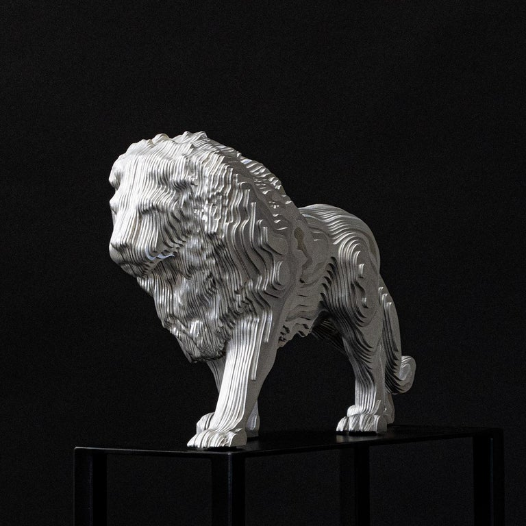 Sculpture lion medium polished made with aluminium  hand-crafted plates. Exceptional piece made in  welded and shaped aluminium into masterful  works of contemporary art.