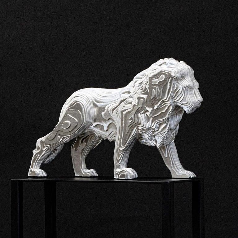 Belgian Lion Medium Polished Sculpture For Sale