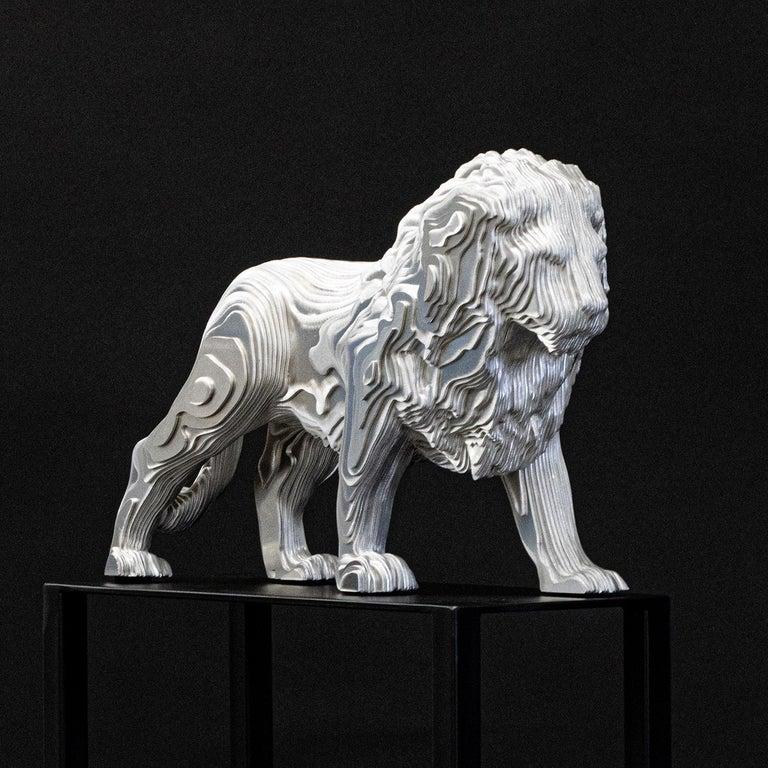 Welded Lion Medium Polished Sculpture For Sale