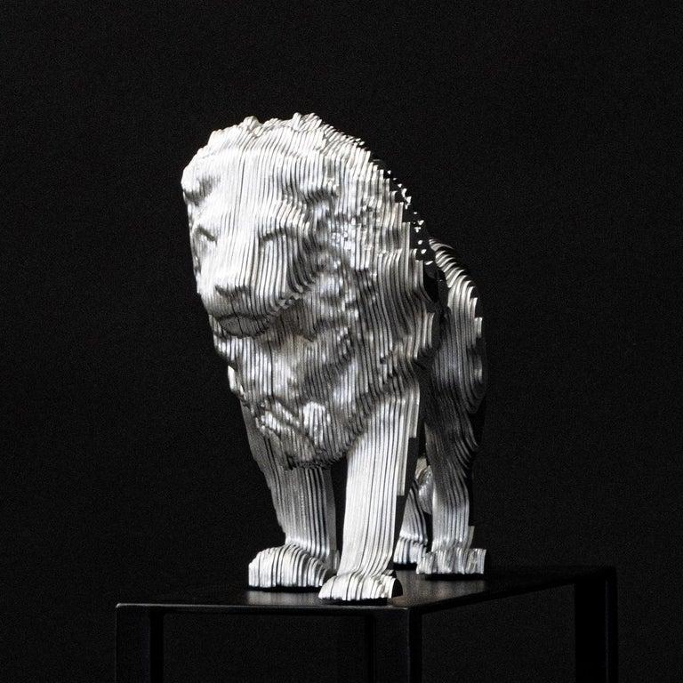 Contemporary Lion Medium Polished Sculpture For Sale