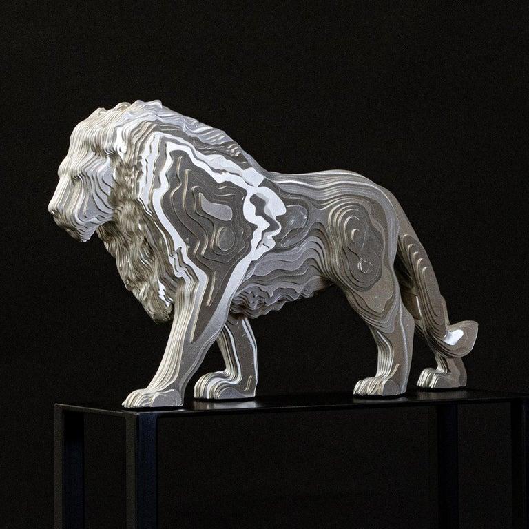 Aluminum Lion Medium Polished Sculpture For Sale